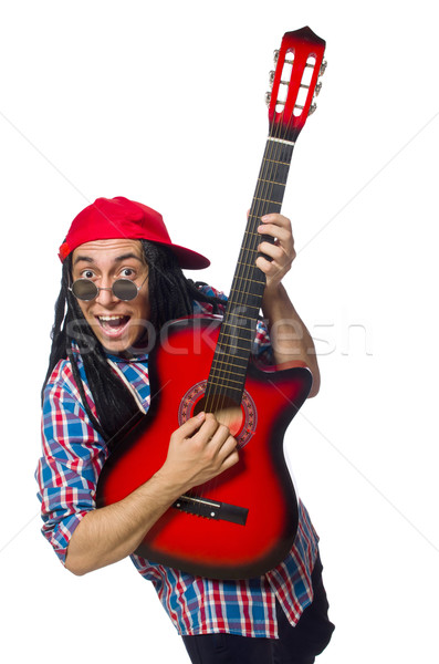 Man with dreadlocks holding guitar isolated on white Stock photo © Elnur