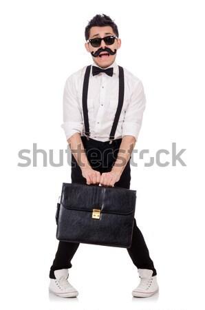 Genç evrak çantası yalıtılmış beyaz adam arka plan Stok fotoğraf © Elnur