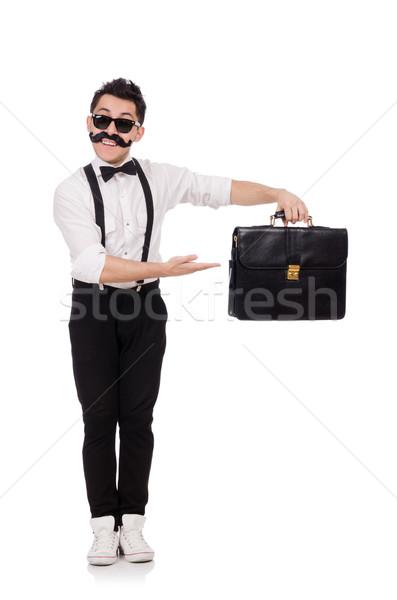 Genç evrak çantası yalıtılmış beyaz arka plan işadamı Stok fotoğraf © Elnur