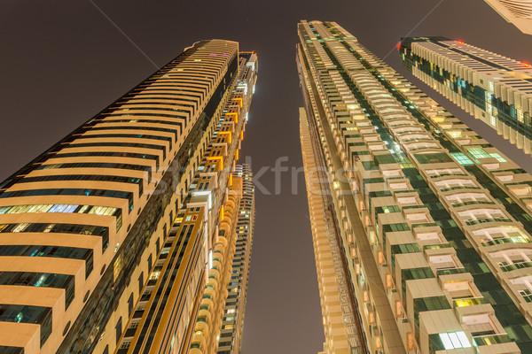 Сток-фото: Небоскребы · Дубай · ночь · здании · город · строительство