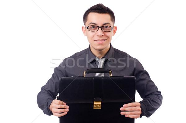 Fiatalember tart aktatáska izolált fehér férfi Stock fotó © Elnur