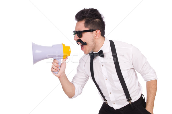 Emotional man with loudspeaker isolated on white Stock photo © Elnur