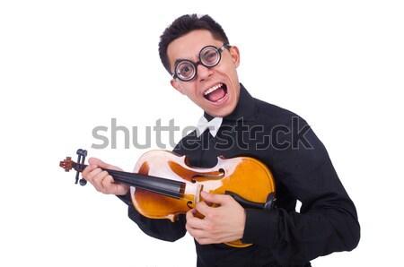 Vicces hegedű játékos fehér művészet koncert Stock fotó © Elnur