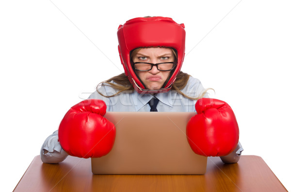 Office employee at job wearing box gloves isolated on white Stock photo © Elnur
