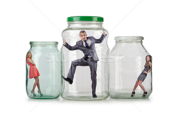 Stock photo: People trapped in the glass jar