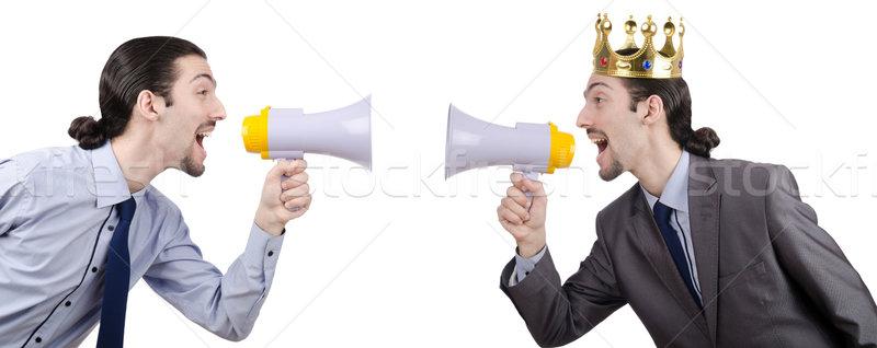 Férfi kiált kiabál hangfal üzlet nők Stock fotó © Elnur
