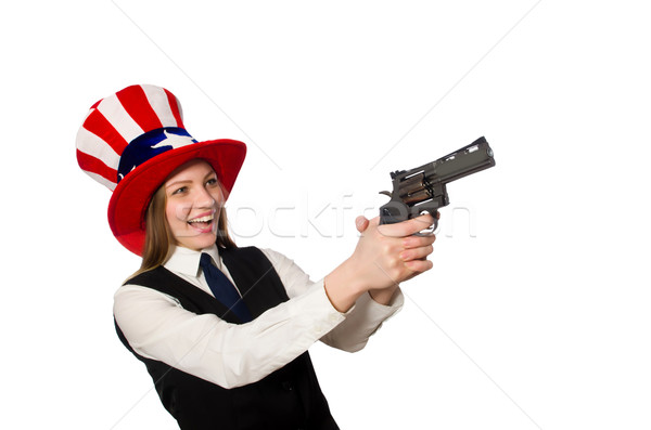 Woman wearing hat with american symbols  Stock photo © Elnur