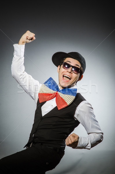 Funny Mann Riese Fliege glücklich Gläser Stock foto © Elnur