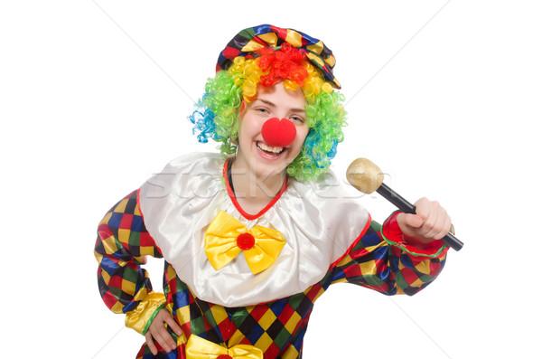 Clown geïsoleerd witte muziek gelukkig microfoon Stockfoto © Elnur