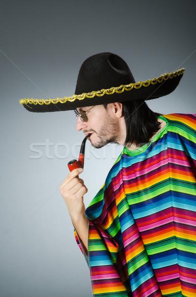 Mexican smoking pipe wearing sombrero Stock photo © Elnur