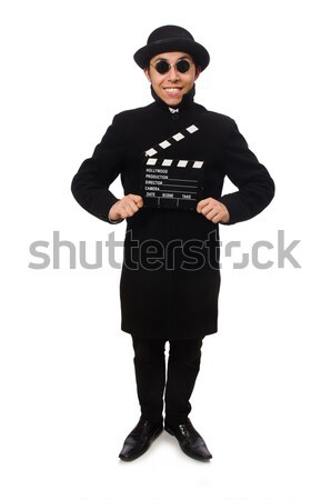 Young man with clapper-board isolated on white Stock photo © Elnur