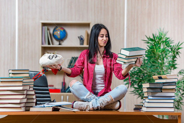 Young female student preparing for college school exams Stock photo © Elnur