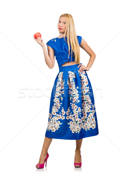 Woman in long blue folral dress isolated on white Stock photo © Elnur