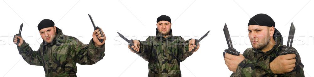 Genç asker üniforma bıçak yalıtılmış Stok fotoğraf © Elnur