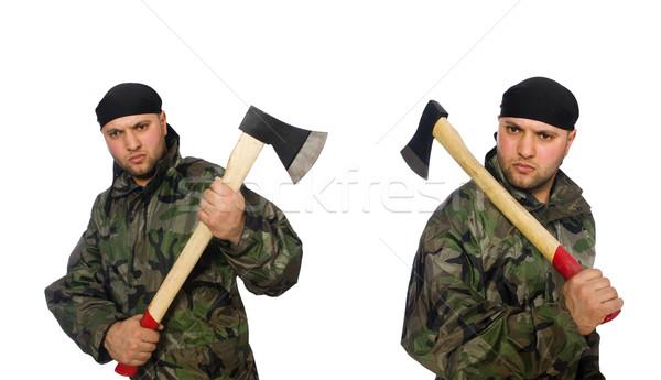 żołnierz topór biały człowiek tle Zdjęcia stock © Elnur