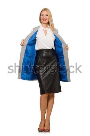 Nő fekete divatos mellény izolált fehér Stock fotó © Elnur