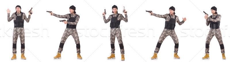 Soldado pistola isolado branco mão homem Foto stock © Elnur