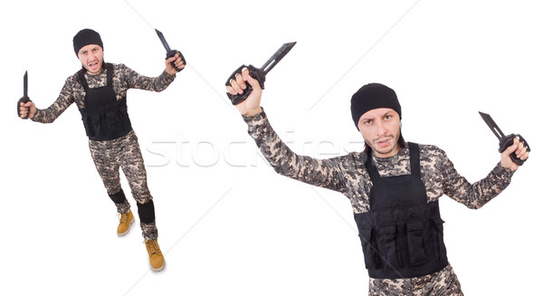 The soldier with knife isolated on white Stock photo © Elnur
