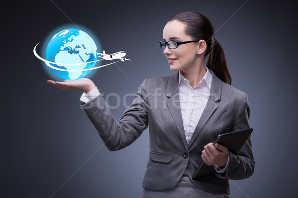 The businesswoman in air travel concept Stock photo © Elnur