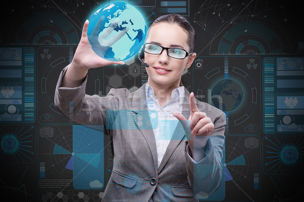 Businesswoman in global business concept Stock photo © Elnur