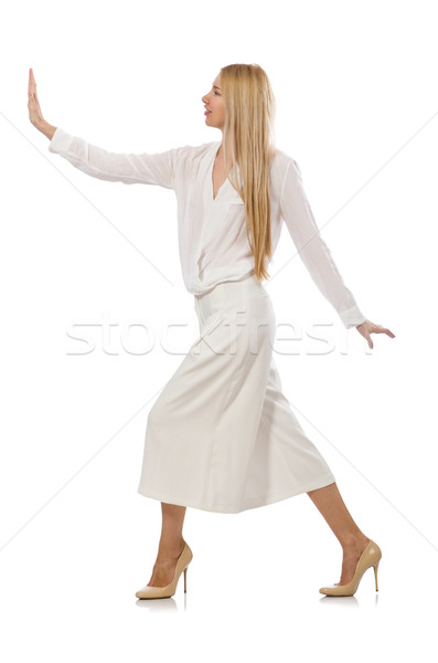 Blond hair model in elegant flared pants isolated on white Stock photo © Elnur