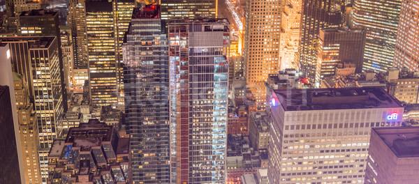 Foto stock: Vista · nuevos · Manhattan · puesta · de · sol · negocios · cielo