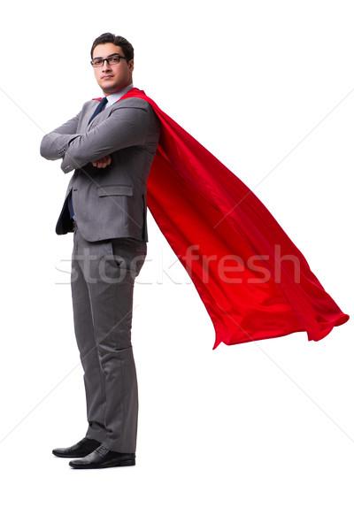 スーパーヒーロー ビジネスマン 孤立した 白 ビジネス 建物 ストックフォト © Elnur