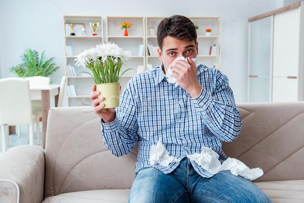 Férfi szenvedés allergia orvosi virág étel Stock fotó © Elnur