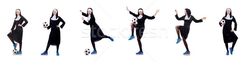 Pretty nun with football ball isolated on white Stock photo © Elnur
