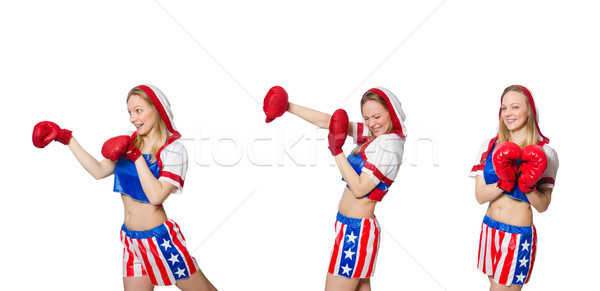 Kadın boksör yalıtılmış beyaz spor sağlık Stok fotoğraf © Elnur
