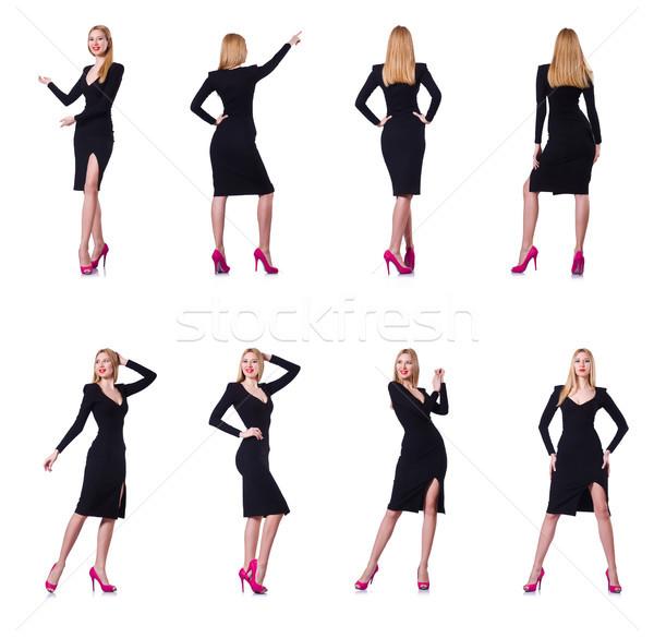 молодые блондинка девушки черное платье изолированный Сток-фото © Elnur