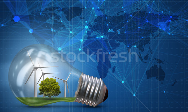 Lightbulb in alternative energy concept - 3d rendering Stock photo © Elnur