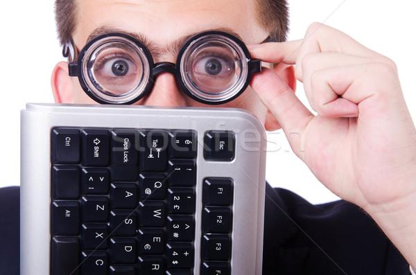 Computer geek nerd divertente business internet Foto d'archivio © Elnur