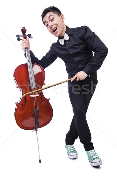Stock fotó: Vicces · férfi · hegedű · fehér · hang · férfi