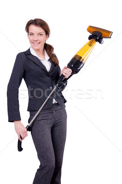 Stockfoto: Jonge · vrouw · stofzuiger · witte · vrouw · huis · werk