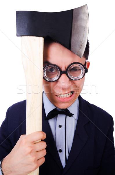смешные бизнесмен топор белый служба фон Сток-фото © Elnur