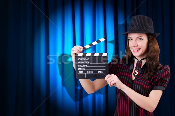 Nő gengszter film film háttér biztonság Stock fotó © Elnur