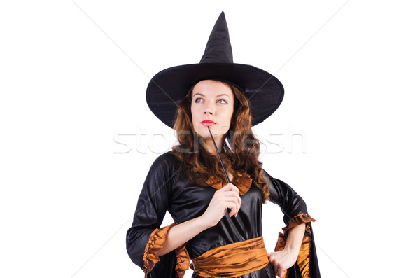 Witch with wand isolated on the white Stock photo © Elnur