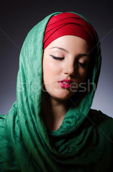 мусульманских женщину головной платок моде счастливым фон Сток-фото © Elnur