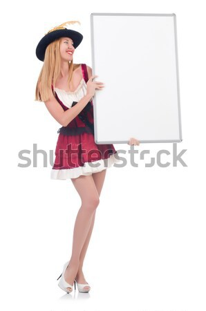 Woman with sombrero hat and blank board Stock photo © Elnur