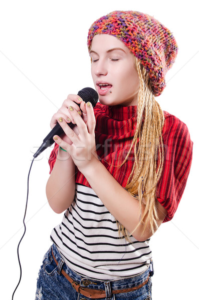 Jovem feminino cantora branco festa feliz Foto stock © Elnur