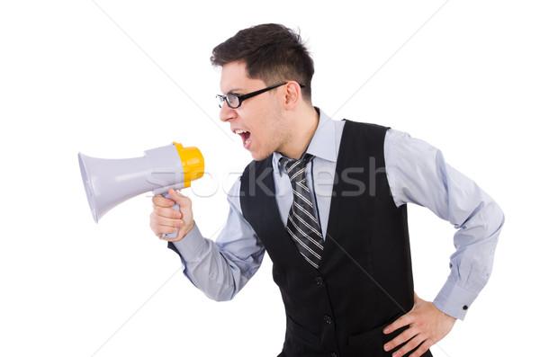 Vicces férfi hangfal fehér üzlet építkezés Stock fotó © Elnur