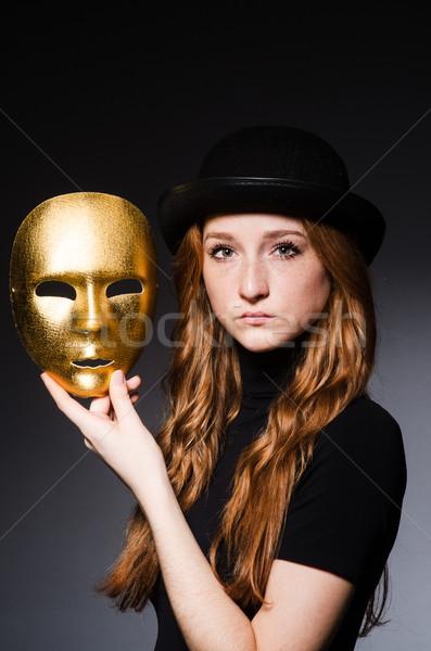 Femme chapeau masque gris foncé visage Photo stock © Elnur