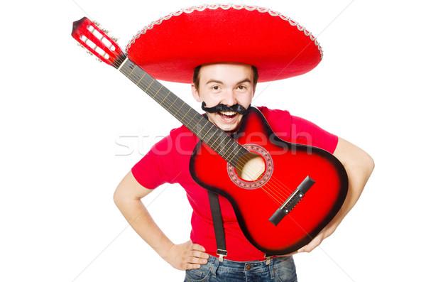 Mexicano guitarrista aislado blanco fiesta guitarra Foto stock © Elnur