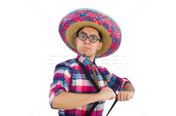 Komik Meksika geniş kenarlı şapka mutlu Retro beyaz Stok fotoğraf © Elnur