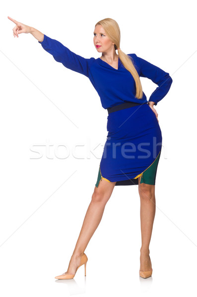 Stok fotoğraf: Kadın · sanal · düğme · yalıtılmış · beyaz