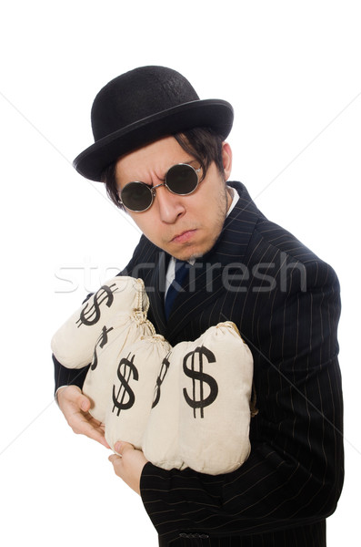 Young employee holding money bags isolated on white Stock photo © Elnur