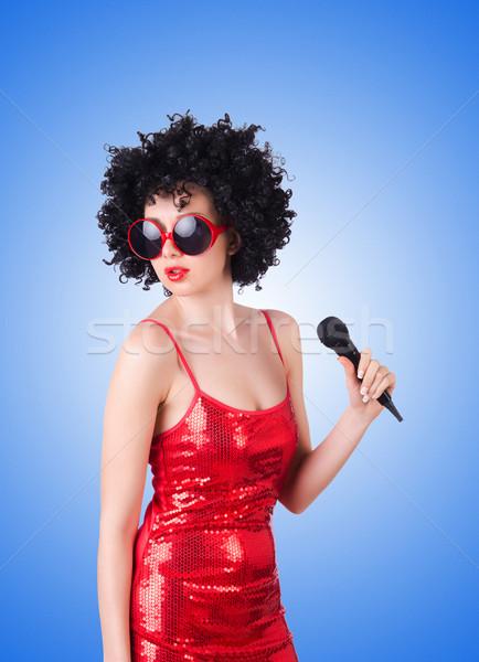 Zdjęcia stock: Pop · star · czerwona · sukienka · biały · strony · szczęśliwy