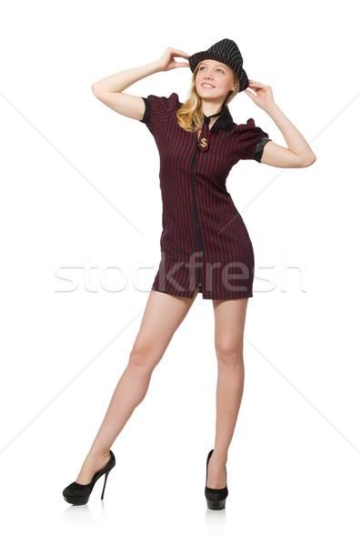 женщину Gangster изолированный белый девушки Sexy Сток-фото © Elnur
