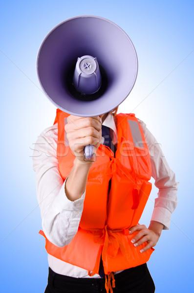 Jonge vrouw vest luidspreker witte business vrouw Stockfoto © Elnur